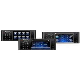 Soundstream VIR-4344NRB Exact Single DIN A/V Source DVD / CD / MP3 / MP4 / DivX / VCD Receiver with Digital 4.3 inch TFT / LCD, Fingertouch Front Panel, Built-in Bluetooth & Front USB and iPod Input Connection