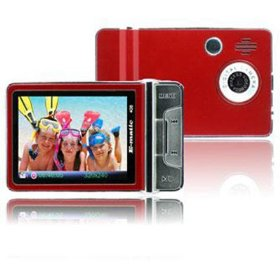 Ematic 2.4 Inches Color MP3 Video Player withBuilt-in 5MP Digital Camera and Video Recording, FM Radio, TV Out, Speaker 4 GB RED