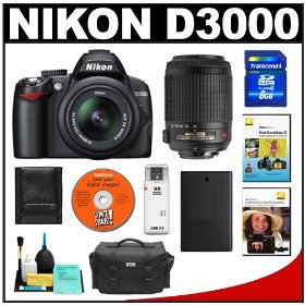 Nikon D3000 10MP Digital SLR Camera with 18-55mm f/3.5-5.6G AF-S DX VR Nikkor Zoom Lens & 55-200mm VR Zoom Lens with 8GB Card + EN-EL9a Battery + Nikon Gadget Bag + 2 Nikon School DVDs + Accessory Kit