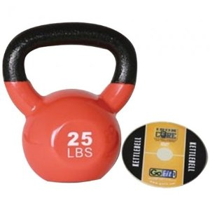 GoFit 25-Pound Orange Kettlebell with Vinyl Coating, Iron Core Training DVD and Exercise Booklet