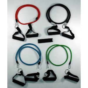 Set of 4 NEW Premium Latex Exercise Resistance Bands Tubes Cords w/ free Door Anchor and Exercise Manual. Perfect for use with p90x, slimin6, insanity, crossfit, pilates and physical therapy.