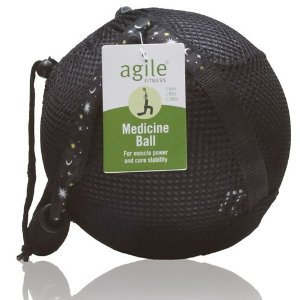 10LB Black Medicine Ball in Black Mesh Carry Sack