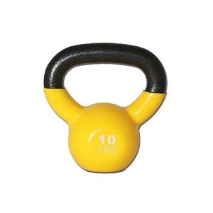 GoFit 10-Pound Yellow Kettlebell with Vinyl Coating, Iron Core Training DVD and Exercise Booklet