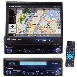 PYLE PLDNV71BT 7-Inch Motorized TFT Touch Screen DVD/CD Player/AM/FM/USB Receiver withBluetooth Built-in GPS USA Canada and Mexico Maps