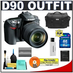 Nikon D90 Digital SLR Camera with 18-105mm AF-S DX VR Nikkor Lens [Outfit] + 16GB Cameta Bonus Accessory Kit