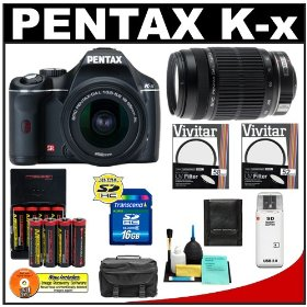 Pentax K-x Digital SLR Camera (Black) with 18-55mm DA L Zoom & 55-300mm DA L Lens + 16GB SDHC Card + AA Batteries & Charger + Filters + Accessory Kit