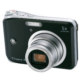 GE A950-BK 9MP Digital Camera with 5X Optical Zoom and 2.5 Inch LCD with Auto Brightness - Black