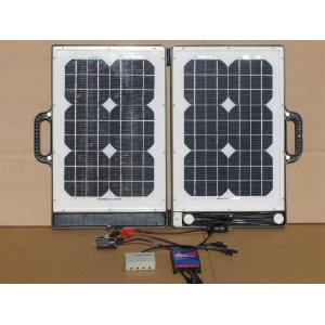 30 Watt Mono-crystalline Portable Briefcase Solar Panel 12V Charger - temper proof glass