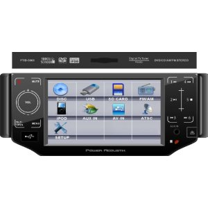 Power Acoustil PTID-5000 Single DIN A/V Source Unit w/ Oversized Digital 5? TFT-LCD Touch Screen; Motorized Front Panel w/ 4 Pre-Set Angles