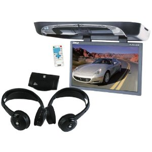 Pyle Great DVD System Package for Car/Truck/SUV -- PLRD195IF 19-Inch Flip Down with Built in DVD/SD/USB Player with Wireless FM/ Modulator and IR Transmitter + PLVWH6 Dual Wireless IR Mobile Video Stereo Headphones with Transmitter.