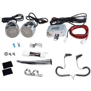 Complete Pyle Weatherproof Mp3/ipod Powerful Speaker Kit for Motorcycle, Motorbike, Atv, Scooter, Boat, Snowmobile - PLMCA60 600w Amplifier + Chrome Aluminum Speakers + Dual Handlebar Mount + USB Charger + Pair of Pyle Marine Headphones/Earbuds,