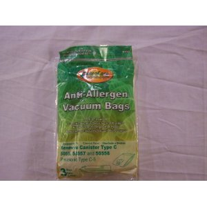 Kenmore Canister Allergen Filtration Vacuum Cleaner Bags Fits 5055, 50557, 50558, And Panasonic Style C-5 - 3pk.