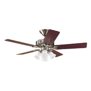 Hunter 25582 The Studio Four-Light 52-Inch Five-Blade Ceiling Fan, Brushed Nickel with Frosted Globes