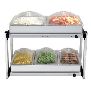 Broil King MLB-25P Professional Multi-Level Stainless-Steel Buffet Server with Plastic Lids