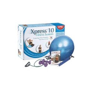 SPRI X10-R Xpress10 Min Weight Loss Kit with DVD, Green Xertube, 2lb Hand Weights, 65cm Ball and Pump