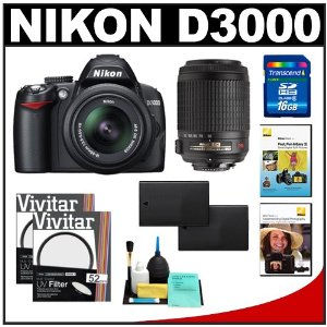 Nikon D3000 10MP Digital SLR Camera with 18-55mm f/3.5-5.6G AF-S DX VR Nikkor Zoom Lens & 55-200mm VR Zoom Lens with 16GB Card + (2x) EN-EL9a Battery + UV Filters + 2 Nikon School DVDs + Cleaning Kit