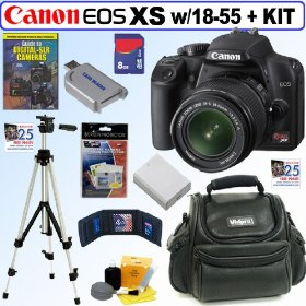 Canon Rebel XS 10.1MP Digital SLR Camera (Black) with EF-S 18-55mm f/3.5-5.6 IS Lens + 8GB Deluxe Accessory Kit