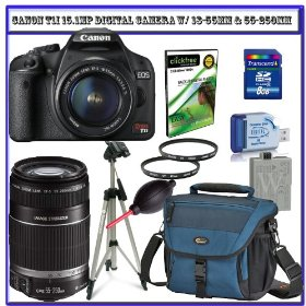 Canon EOS Rebel T1i 15.1 MP CMOS Digital SLR Camera with 18-55mm IS Lens & Canon 55-250mm