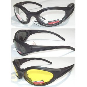 3 Motorcycle Biker Glasses Padded Clear Smoke Yellow Lens MSRP for This Set Is 48.00 They Have Shatterproof Polycarbonate Lenses With UV400 Filter And Double-Sided Anti-Fog Coating