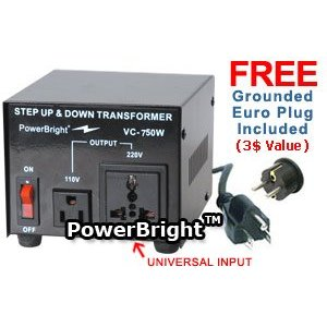 Power Bright VC750W Voltage Transformer 750 Watt Step Up/Down 110 Volt - 220 Volt