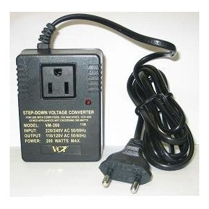 220V Travel Converter - 200 Watts Deluxe Step Down Voltage Converter Adapter for Laptops and Light Portable Electronics.