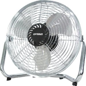 Optimus F-4123 12-Inch Industrial Grade 3-Speed High-Velocity Fan, black/chrome