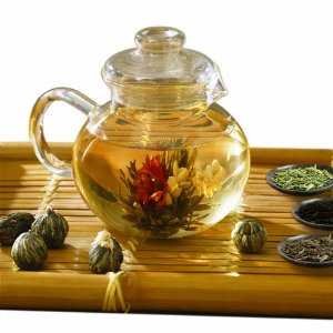 Primula Flowering Tea Set with 40-Ounce Pot, 6 Flowering Teas, and Loose Tea Variety Pack