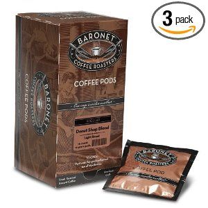 Baronet Coffee Donut Shop Blend Light Roast, Mega (12 g) Coffee Pods, 16-Count Pods (Pack of 3)