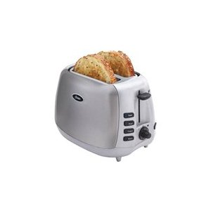 Sunbeam Household Products 6596 Toa 2 Slice Toaster Oster Chrome/wht Extra Wide Slots Dual Auto Adjusting Bread Guides 7 Toast Shade Settings