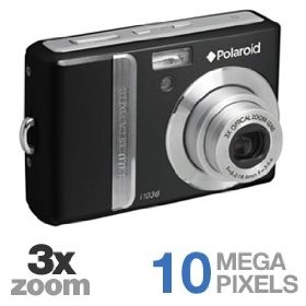 Polaroid i1036 - Digital camera - compact - 10.0 Mpix - optical zoom: 3 x - supported memory: SD, SDHC - black