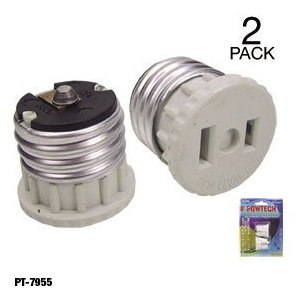 Adaptor Converts Bulb Socket to 110 Volt Socket Plug