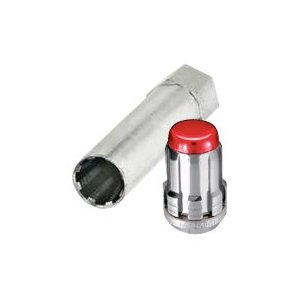 McGard 65557RC Chrome With Red Cap SplineDrive Wheel Installation Kit (M12 x 1.5 Thread Size) - For 5 Lug Wheels