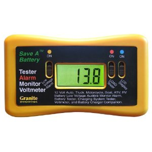 Save A Battery 1295 12-Volt Battery Alarm Monitor with Load Tester and Voltmeter