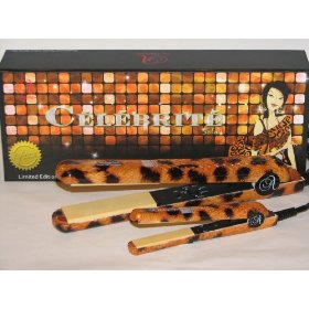 LE ANGELIQUE GOLD LEOPARD CELEBRITE NIGHTRO SET FULL SIZE ADJUSTABLE CERAMIC + MINI 12V(CAR) MATCHING FLAT IRON