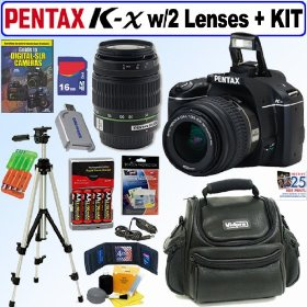 Pentax K-x 12.4 MP Digital SLR Camera (Black) with 18-55mm f/3.5-5.6 AL Zoom Lens and 50-200mm f/4-5.6 SMCP-DA ED Zoom Lens + 16GB Deluxe Accessory Kit