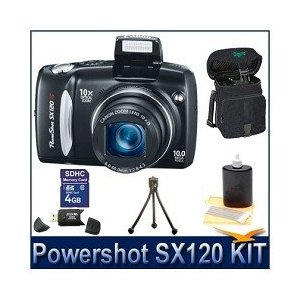 Canon Powershot SX120IS Digital Camera Bundle w/ 4GB SD Memory, Card Reader, Case, Tripod and Lens Cleaning Kit