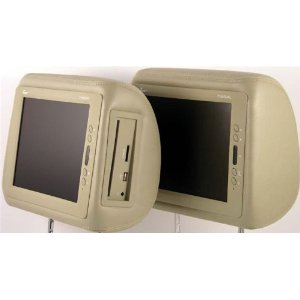 Pair of Brand New Tview T104dvpl-tan Headrests with 10.4