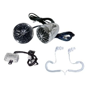 Complete Pyle Weatherproof Mp3/ipod Speaker Kit for Motorcycle, Motorbike, Atv, Scooter, Boat, Snowmobile - 400w Amplifier + Dual Bullet Style Speakers + Chrome Mounting Brackets + Pair of Pyle Marine Headphones/Earbuds,