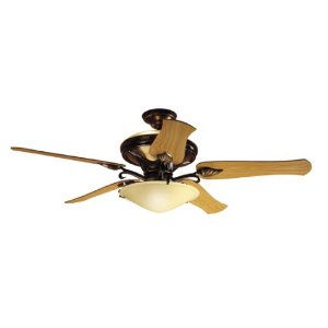 Hunter 23298 Ranier 2-Light 60-Inch Five-Blade Ceiling Fan with Frosted Globe, Amber Bronze