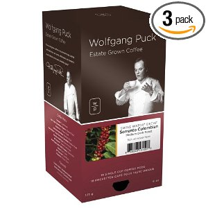 Wolfgang Puck Coffee, Sorrento Colombian Swiss Water Process Decaf Blend, 18-Count Pods (Pack of 3)