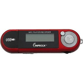 Impecca MP1802FR 8GB Portable MP3/WMA Player and Voice Recorder with FM Tuner Red