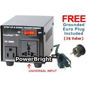 Power Bright VC200W Voltage Transformer 200 Watt Step Up/Down 110 Volt - 220 Volt