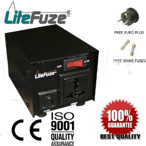 LiteFuze VT-100 100 Watt Heavy Duty Voltage Converter Transformer - Step Up/Down 110/120/220/240V - Fully Grounded Cord (Free Euro Plug)