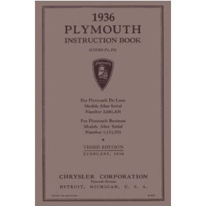 1936 PLYMOUTH Full Line Owners Manual User Guide