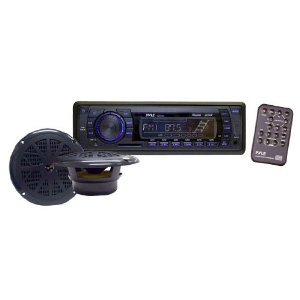 Pyle PLMRKT13BK In-Dash Marine AM/FM PLL Tuning Radio with USB/SD/MMC Reader