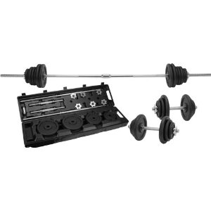 Sunny Health & Fitness 110 Lbs. Black Barbell Set