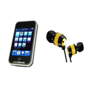 Visual Land V-Touch 2.8-Inch Touchscreen 16 GB MP3/MP4 player with Camera including In-Ear Headphones  (Black)