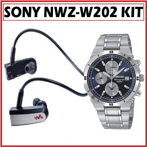 Sony NWZ-W202BLK Headphone-Style Walkman MP3 Player + Seiko SNA695 Men's Dress Watch