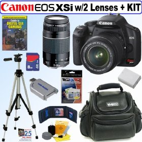 Canon Digital Rebel XSi 12MP Digital SLR Camera (Black) with EF-S 18-55mm f/3.5-5.6 IS Lens & EF 75-300mm f/4-5.6 III Deluxe Accessory Kit