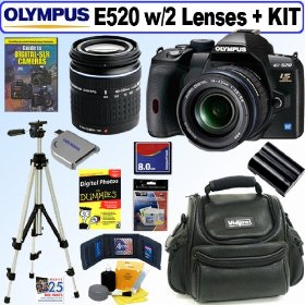 Olympus Evolt E520 10MP Digital SLR Camera with 14-42mm f/3.5-5.6 and 40-150mm f/4.0-5.6 ED Zuiko Lenses + 8GB Deluxe Accessory Kit